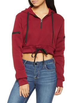 Drawstring Hem Cropped Sweatshirt - 3416063408970