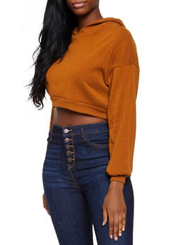 Fleece Lined Cropped Sweatshirt - 3416066493298