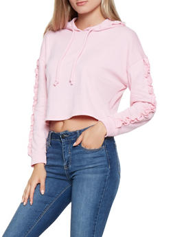 Ruffle Sleeve Hooded Sweatshirt - 3416066493444