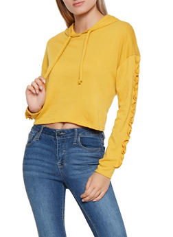 Ruffle Sleeve Hooded Sweatshirt - 3416066493444