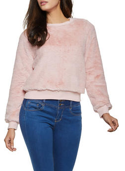 Faux Fur Long Sleeve Sweatshirt - 3416069390341