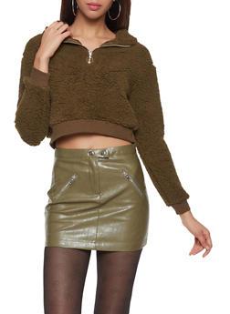 Hooded Cropped Sherpa Sweatshirt - 3416069390462