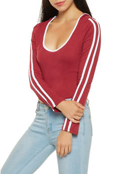 Side Stripe Hooded Long Sleeve Tee - 3416069390563