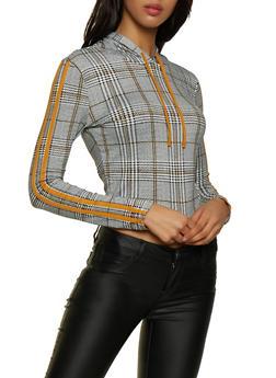 Plaid Varsity Stripe Detail Hooded Top - 3416069391075
