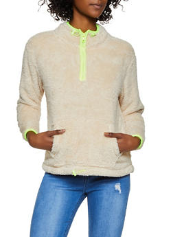 Contrast Trim Sherpa Pullover - 3416069393599