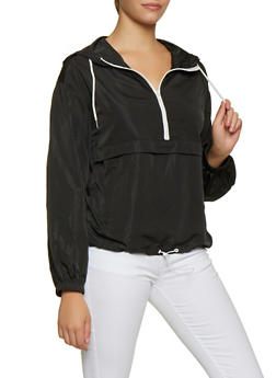 Contrast Trim Half Zip Windbreaker - 3416069399996