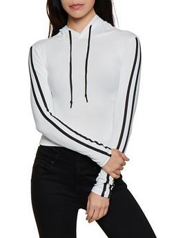 Soft Knit Varsity Stripe Hooded Top - 3416072290013