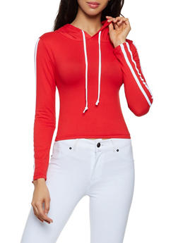 Soft Knit Varsity Stripe Hooded Top - 3416072290013