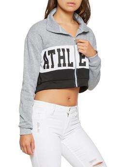 Cropped Graphic Zip Up Sweatshirt - 3416072290038