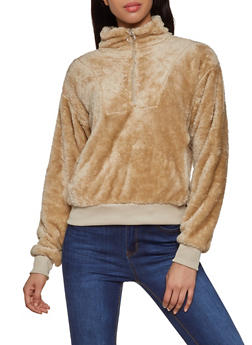 Faux Fur Half Zip Sweatshirt - 3416072290328