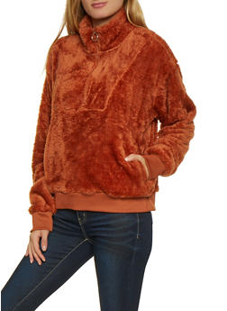 Faux Fur Half Zip Sweatshirt - 3416072290328