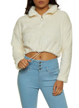 Half Zip Cropped Faux Fur Sweatshirt - 3416072291001