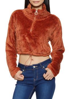 Half Zip Cropped Faux Fur Sweatshirt - 3416072291001