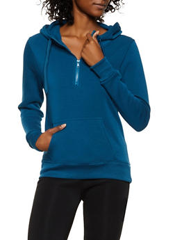 Solid Hooded Half Zip Sweatshirt - 3416072291322