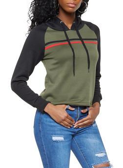 Hooded Color Block Sweatshirt - 3416074718303