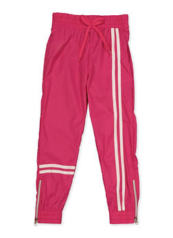 Girls 4-6x Varsity Stripe Zip Hem Joggers - 3601038340018
