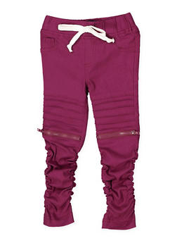 Girls 4-6x Ruched Hyperstretch Moto Jeggings - 3601056570004