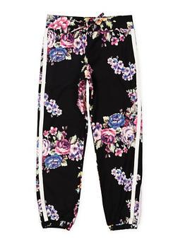 Girls 4-6x Floral Varsity Stripe Joggers - 3601060580028