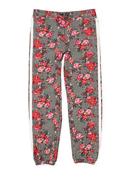 Girls 4-6x Floral Striped Joggers - 3601060580029