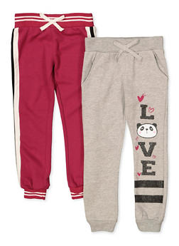 Girls 4-6x Pack of 2 Love Panda and Tape Trim Joggers - 3601063370008