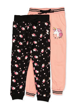 Girls 4-6x 2 Pack Unicorn Joggers - 3601063370009