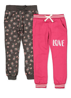 Girls 4-6x Set of 2 Love Graphic Fleece Joggers - 3601063370010