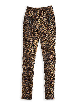 Girls 7-16 Animal Print Ruched Jeggings - 3602056570039