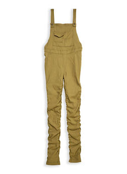 Girls 7-16 Stretch Ruched Overalls - 3602056570045