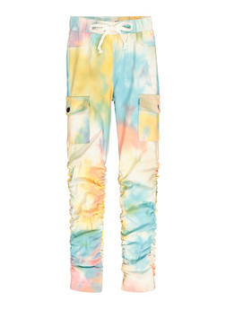Girls Tie Dye Hyperstretch Ruched Cargo Pants - 3602056570078