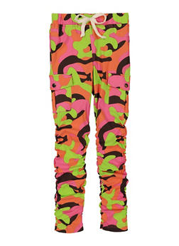 Girls Camo Ruched Cargo Pants - 3602056570091