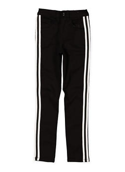 Girls 7-16 Striped Tape Detail Twill Pants - 3602056720004
