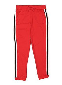 Girls 7-16 Soft Knit Striped Tape Joggers - 3602060580043