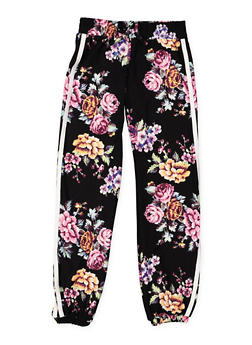 Girls 7-16 Floral Soft Knit Joggers - 3602060580049