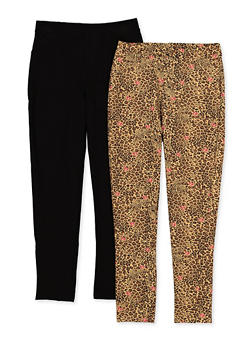Girls 7-16 Set of 2 Leopard and Solid Pants - 3602063370001