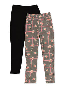 Girls 7-16 2 Pack Printed and Solid Pants - 3602063370002