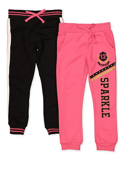 Girls 7-16 Pack of 2 Sparkle and Tape Trim Joggers - 3602063370008