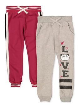 Girls 7-16 Pack of 2 Love Panda and Tape Trim Joggers - 3602063370009