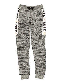 Girls 7-16 Love Graphic Ruched Joggers - 3602063400022