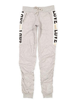 Girls 7-16 Love Graphic Ruched Sweatpants - 3602063400023