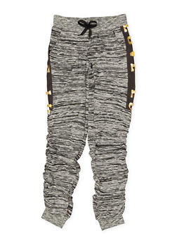 Girls 7-16 Love Foil Graphic Ruched Joggers | Black Trim - 3602063400025