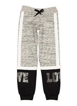 Girls 7-16 Love Foil Graphic Knit Joggers - 3602063400030
