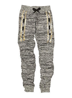 Girls 7-16 Space Dye Ruched Joggers - 3602063400032