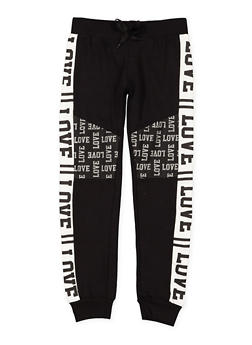Girls 7-16 Color Block Love Graphic Sweatpants - 3602063400037