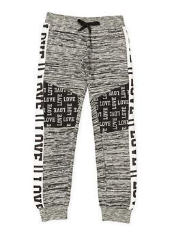 Girls 7-16 Love Graphic Space Dye Sweatpants - 3602063400038