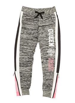 Girls 7-16 Queen Graphic Space Dye Sweatpants - 3602063400041
