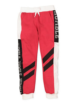 Girls 7-16 Mesh Trim Humble Graphic Joggers - 3602063400042