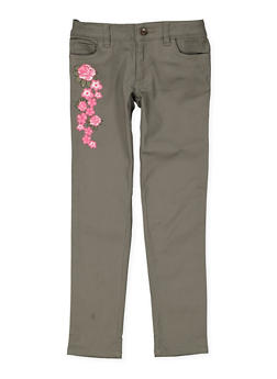 Girls 7-16 Floral Embroidered Skinny Pants - 3602068320002