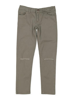 Girls 7-16 Ripped Knees Twill Pants - 3602068320006