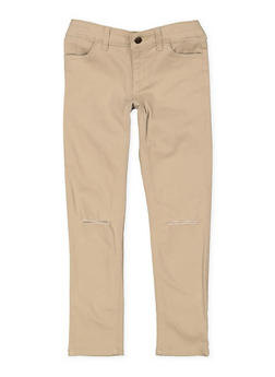 Girls 7-16 Ripped Knees Twill Pants - 3602068320008