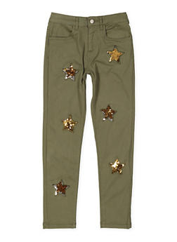 Girls 7-16 Reversible Star Sequin Twill Pants - 3602073990002